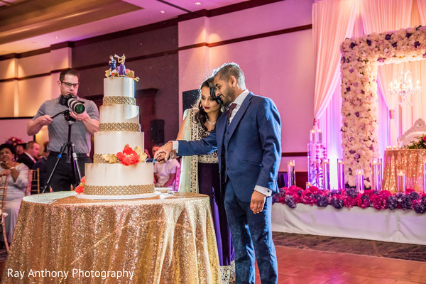 Indian couple cutting the cake moment