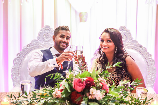 Indian bride and groom toasting photography