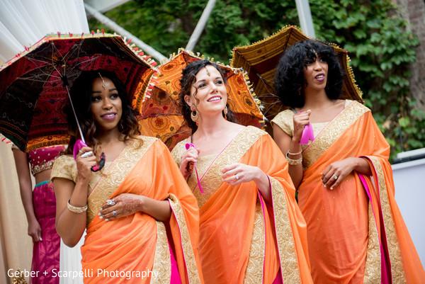 indian bridesmaids fashion,orange sari,golden sari