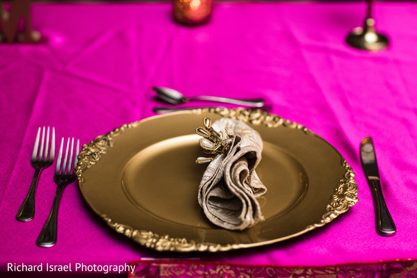 Golden and pink themed table decor