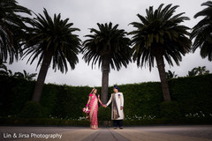 Marvelous Indian bride and groom sunset photo.