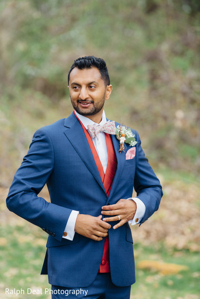 Elegant indian groom's wedding reception outfit