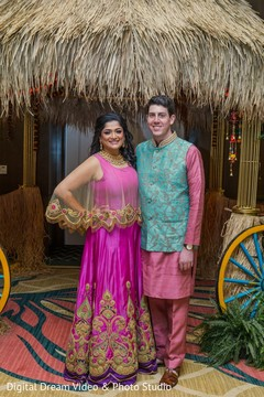 Indian couple at their sangeet
