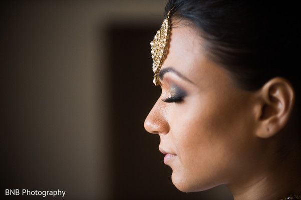 Indian bride getting ready moment