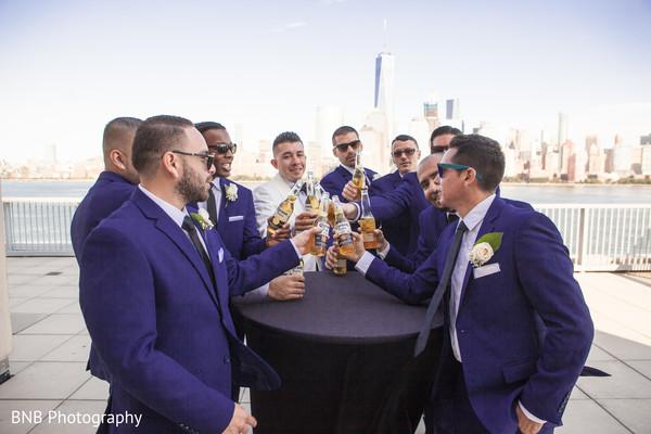 Indian groom with groomsmen fun moment