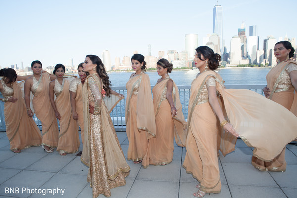 Outdoor themed indian bride with bridesmaids photo shoot