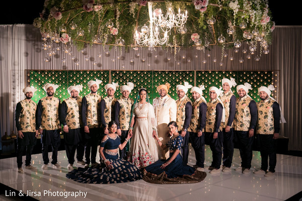 indian wedding reception,indian bridesmaids and groomsmen,indian bride and groom