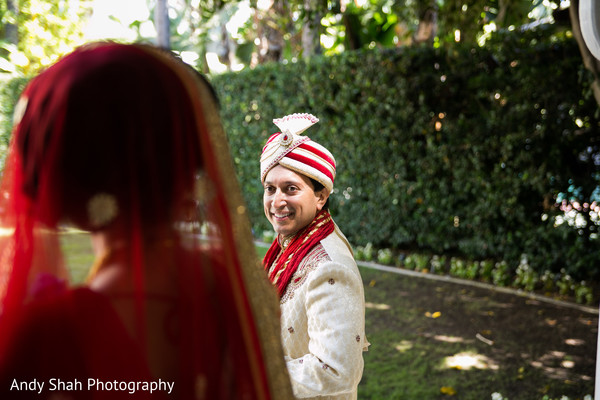 Sweet indian couple's first look photography