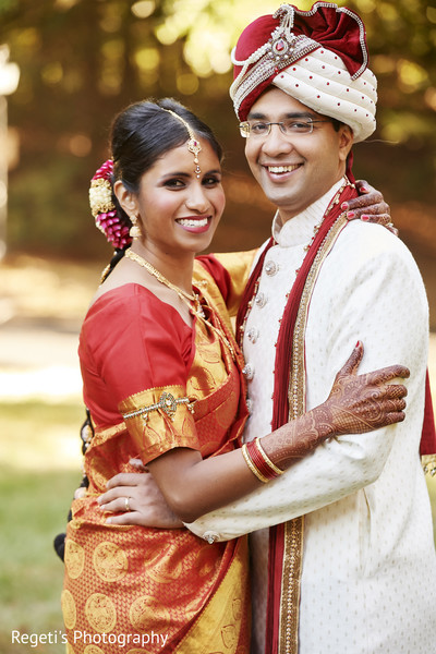 Beautiful Indian bride and groom portrait.