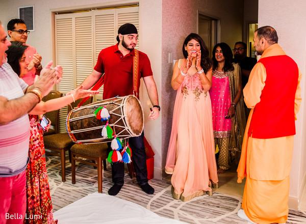 Indian bride during pre-wedding ceremony