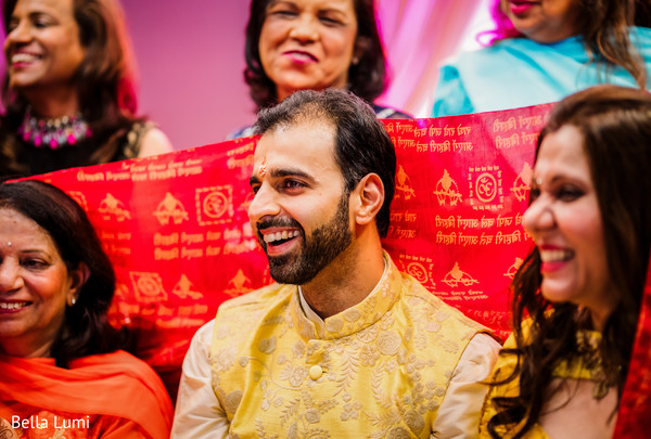 Indian groom smiling