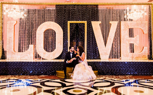 Indian lovebirds' wedding reception photo session