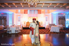 Indian couple at their wedding venue.