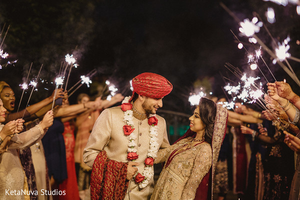 Pakistani wedding Sparkler send off.