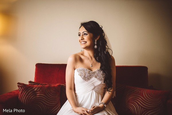 getting ready,white wedding dress,indian bride,indian bridal party
