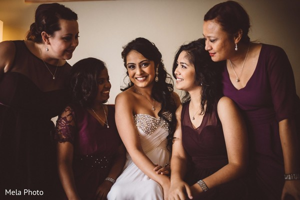 white wedding dress,indian bride,indian bridal party