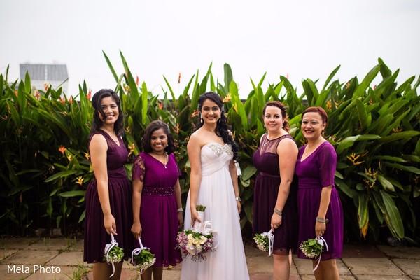 indian bride,indian bridesmaids,bridal bouquet