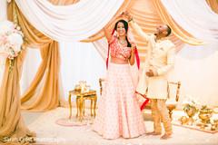 Indian bride and groom joyful moment