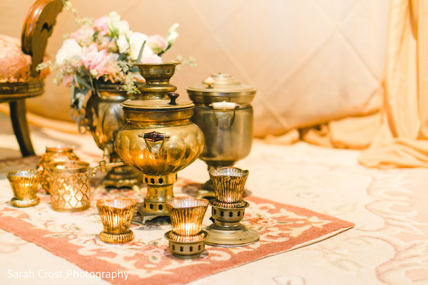 Golden themed indian wedding ceremony decor