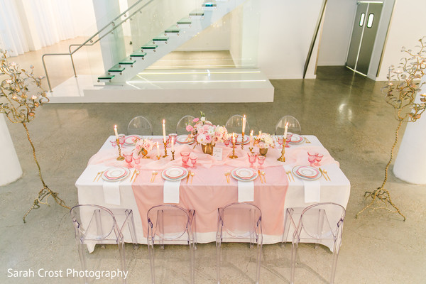 Indian wedding reception pink decor