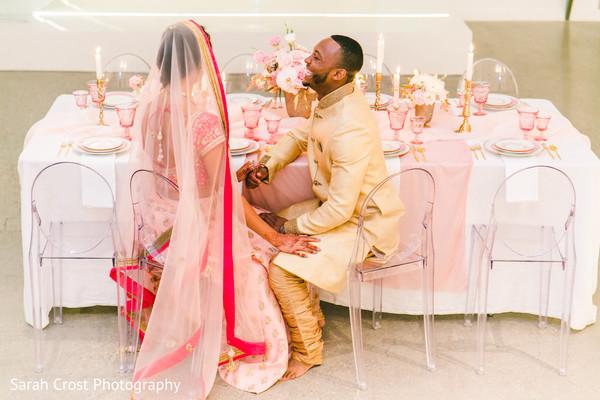 Sweet indian couple's wedding reception photo shoot