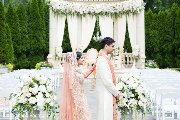 Indian bride and groom's first look photography