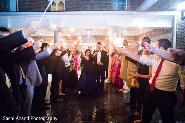 Indian newlyweds leaving reception