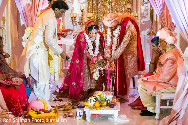 Indian bride and groom traditional wedding ritual