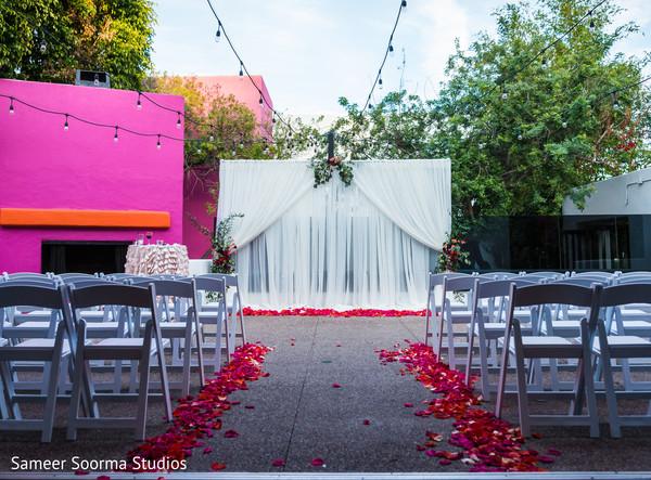 Outdoor Indian fusion wedding ceremony venue.