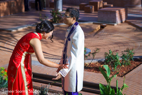 Adorable Indian fusion bride and groom first look.