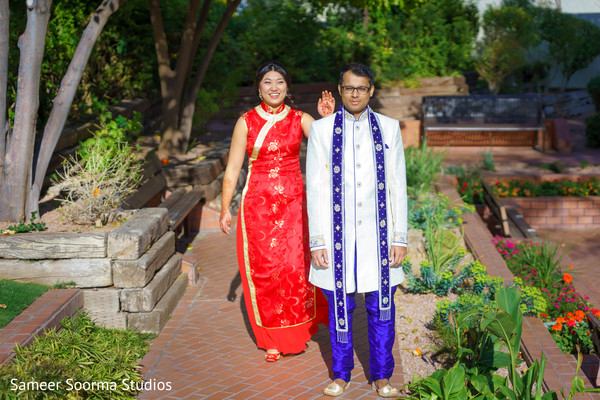 Indian fusion bride and groom first glance.