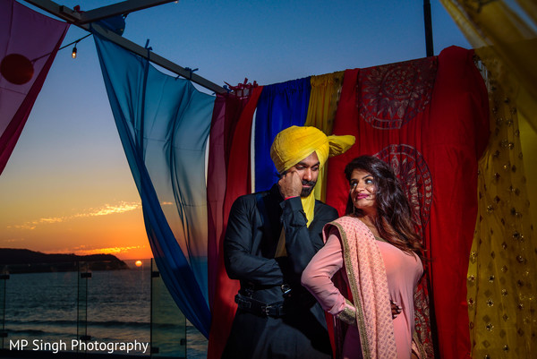 Indian bride and groom pre-wedding celebration photo shoot