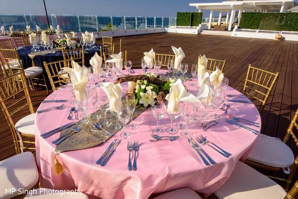 Indian wedding reception table set up