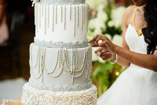 Ecstatic Indian wedding cake design.