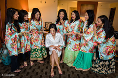 Gorgeous indian bride with bridesmaids fun moment