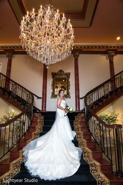 Stunning Indian bride white wedding dress.
