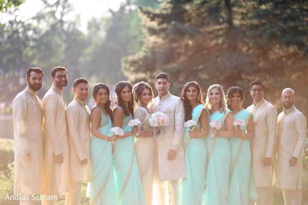 indian wedding gallery,indian bride and groom,indian bridesmaids and groomsmen,outdoor photography