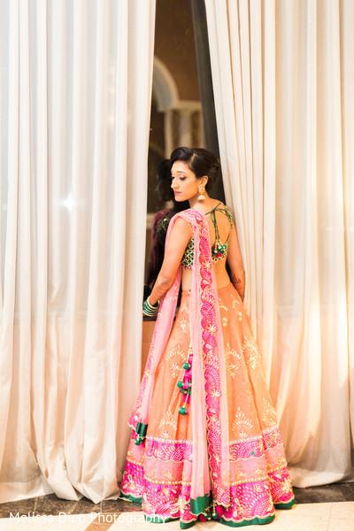 Ravishing indian bride's pre-wedding celebration outfit