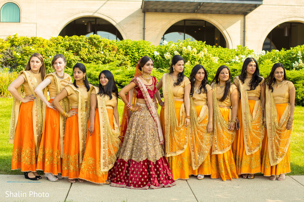 Indian Bride Posing With Bridesmaids In Chicago IL Wedding By Shalin Photo