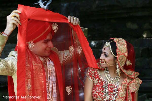 Lovely first look Indian wedding photography.