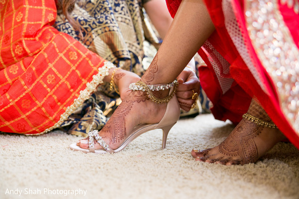 indian bride,indian bride getting ready,indian bride shoes
