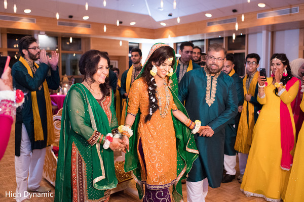 Indian bride's grand entrance to sangeet