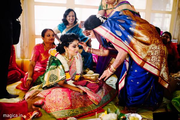 Traditional indian bride's pre-wedding ritual