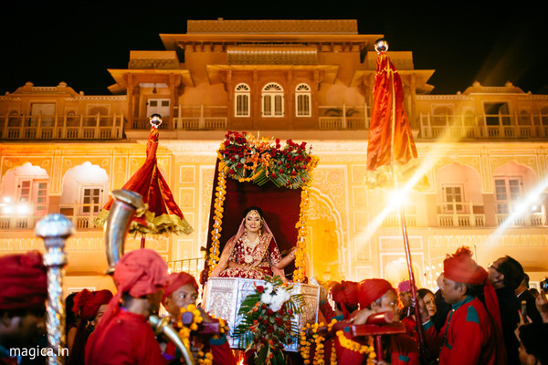 Palanquin, the bridal carriage tradition in destination Hindu and Pakistani weddings
