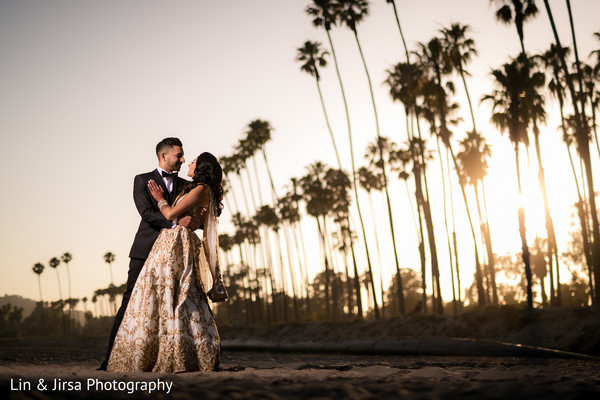 Romantic sunset Indian bride and groom photo.