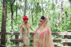 Indian romantic elopement  in the forest.