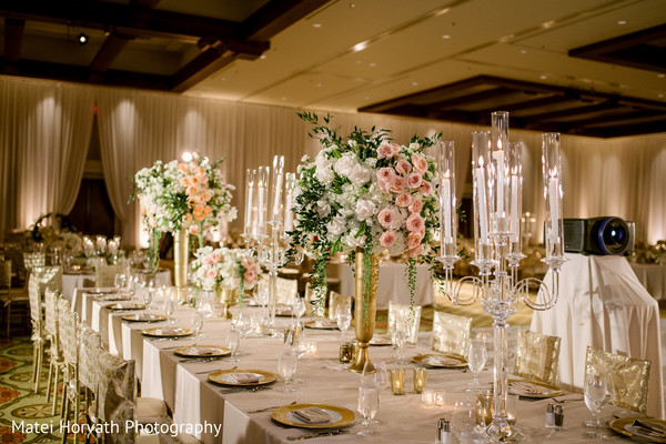 Dreamy Indian Wedding Reception Table Set Up In Huntington Beach CA By Matei