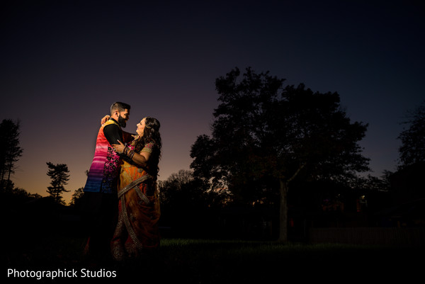 Romantic Indian bride and groom night photo shoot.