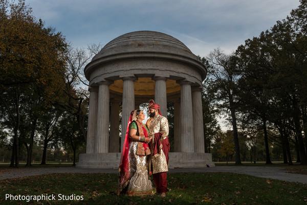 Magical outdoor Indian wedding scene.