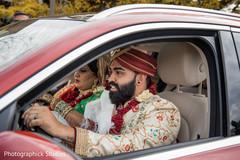 Indian newlyweds farewell.